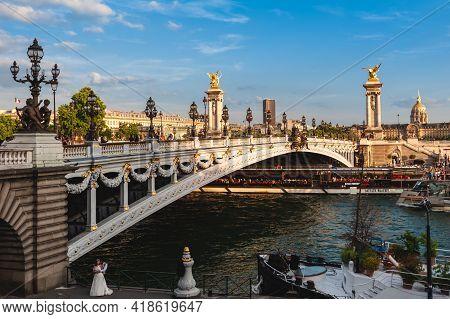 June 14, 2015: Alexandre 3 Bridge, Pont Alexandre Iii, A Deck Arch Bridge That Spans The Seine In Pa