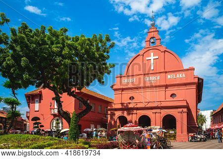 August 12, 2018: Stadthuys And Melaka Red Clock Tower, Aka Tang Beng Swee Clock Tower, Located At Du