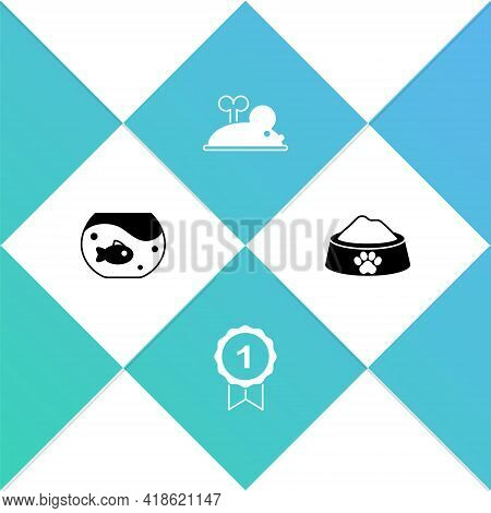 Set Aquarium With Fish, Dog Award Symbol, Clockwork Mouse And Pet Food Bowl Icon. Vector