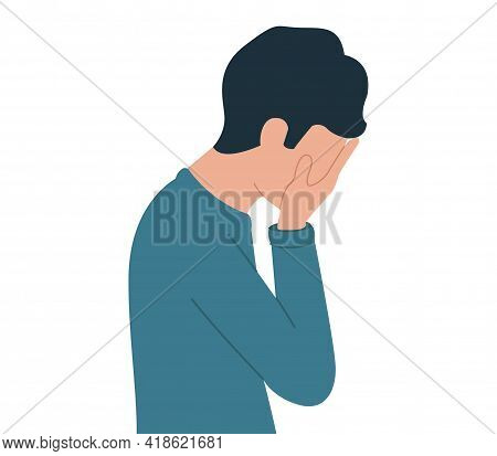 Vector Illustration Of A Young Guy In Depression. Upset Man. Desperate Person
