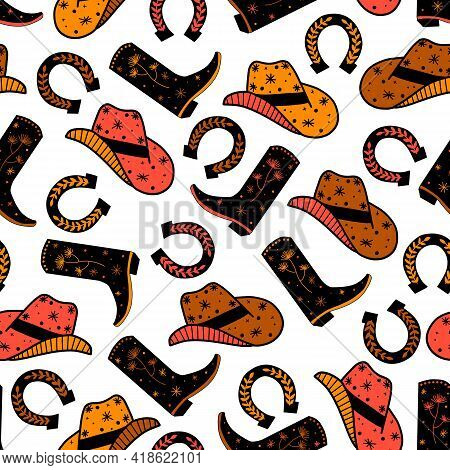 Cowboy Horse Ranch Seamless Vector Pattern. Cowboy Boots, Hat, Horseshoe Repeating Background. Wild