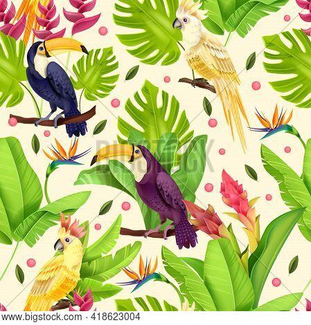 Jungle Vector Seamless Pattern, Exotic Birds, Paradise Parrot, Toucan, Banana Leaves, Flowers, Monst