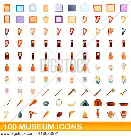 100 Museum Icons Set. Cartoon Illustration Of 100 Museum Icons Vector Set Isolated On White Backgrou