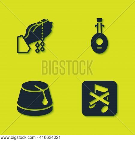 Set Hands In Praying Position, Speaker Mute, Turkish Hat And Lute Icon. Vector