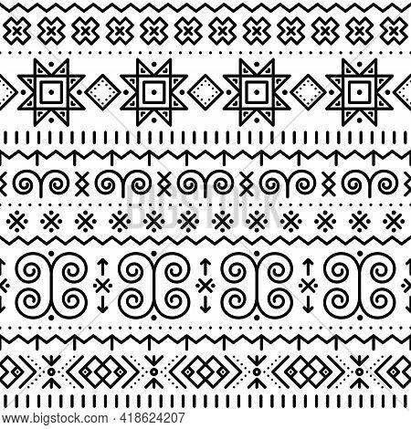 Slovak Folk Art Vector Seamless Geometric Black Pattern On White With Swirls, Zig-zag Shapes Inspire