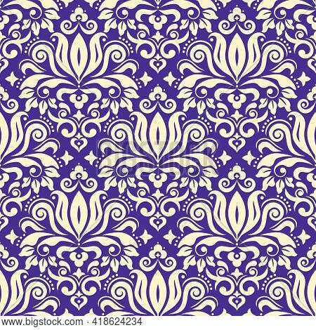 Royal Damask Fabric Print Vector Seamless Pattern, Retro Textile Design With Floral Motif On Purple