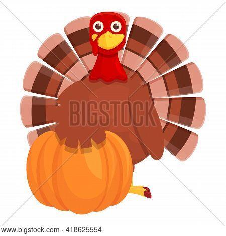 Thanksgiving Turkey With Pumpkin Icon. Cartoon Of Thanksgiving Turkey With Pumpkin Vector Icon For W