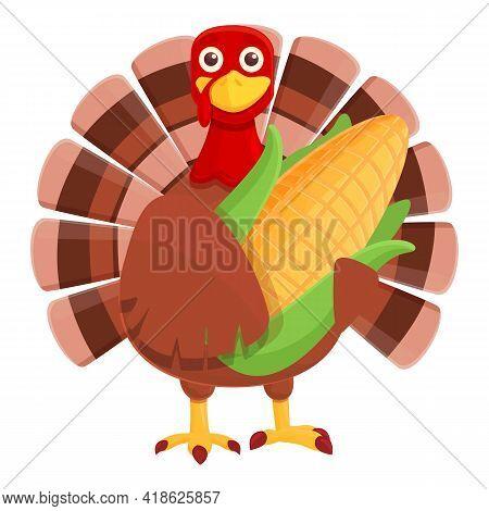 Thanksgiving Turkey With Corn Icon. Cartoon Of Thanksgiving Turkey With Corn Vector Icon For Web Des