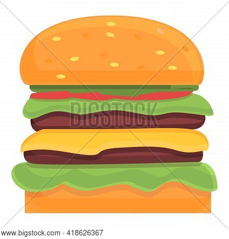 American Burger Icon. Cartoon Of American Burger Vector Icon For Web Design Isolated On White Backgr