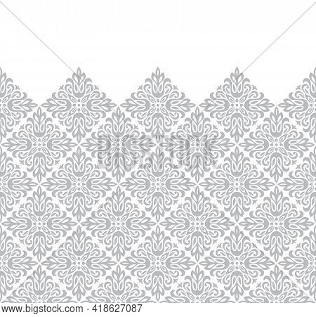 Wallpaper In The Style Of Baroque. Modern Vector Background. White And Gray Floral Ornament. Graphic