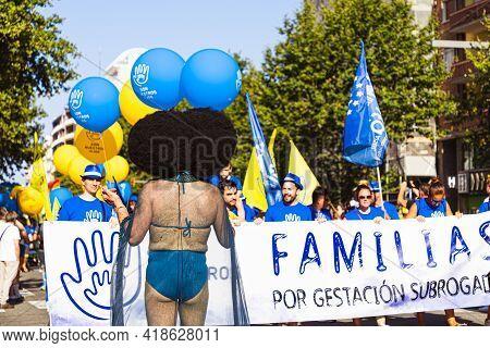 Lgtbq Pride Festival Celebration. Barcelona - Spain. June 29, 2020: A Group Of Parade Participants I