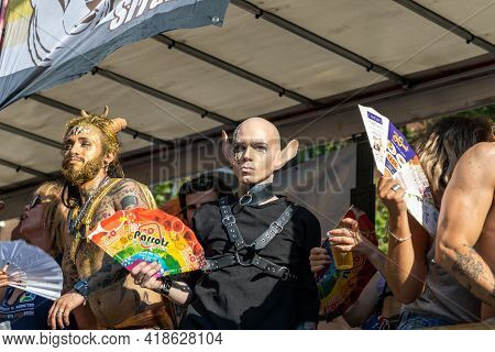 Lgtbq Pride Festival Celebration. Barcelona - Spain. June 29, 2020: A Conspicuous Parade Participant