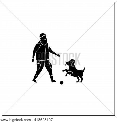 Pets Benefits Glyph Icon. Puppy Provide Companionship. Man Plays With Dog.animal Caring Concept. Fil