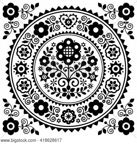 Polish Folk Art Vector Greeting Card Design With Floral Mandala Design In Black And White Inspired B