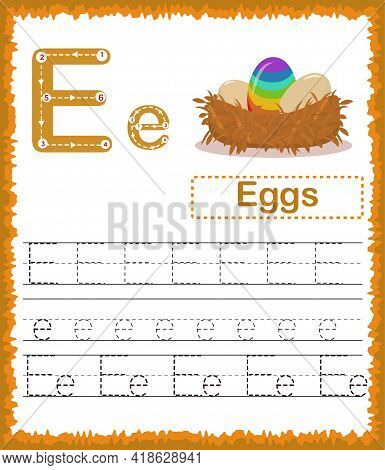 Vector Illustration Of Exercises With Cartoon Vocabulary For Kids. Colorful Letter E Uppercase And L
