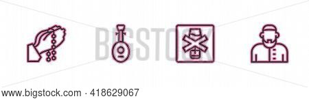 Set Line Hands In Praying Position, No Alcohol, Lute And Muslim Man Icon. Vector