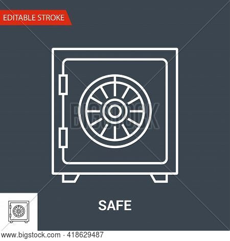 Safe Icon. Thin Line Vector Illustration - Adjust Stroke Weight - Expand To Any Size - Easy Change C