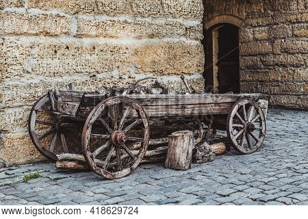 Vintage Cart On Wooden Wheels Near Odone Bazaar Capuses Or The Gate Of The Wood Bazaar Is Part Of Th
