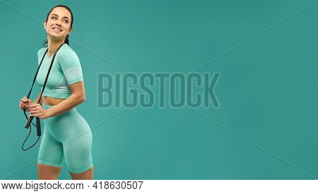 Website Header Of Cheerful Young Woman In Sportswear Holding Skipping Rope