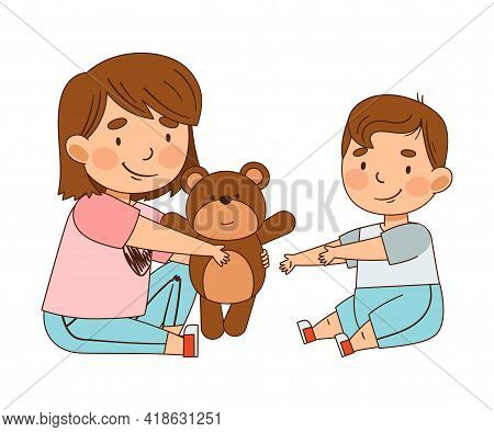 Friendly Sister Giving Toy Teddy Bear To Her Little Brother As Family Relations Vector Illustration