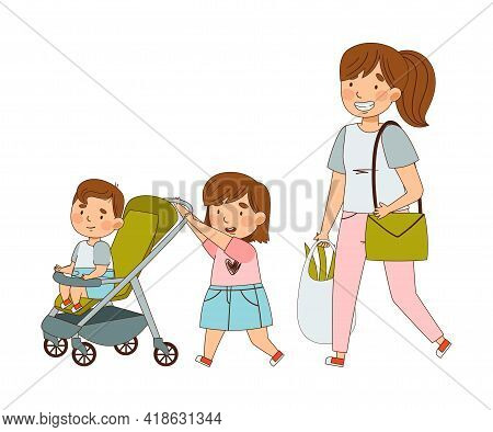 Young Mother Walking With Her Daughter Pushing Baby Buggy With Her Little Brother As Family Relation