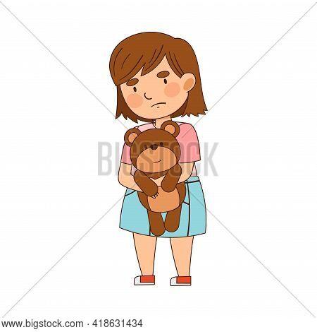 Greedy Girl Standing With Teddy Bear Vector Illustration