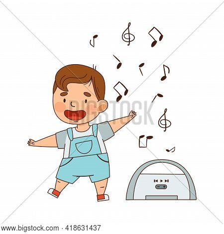 Cute Infant Boy Dancing To Music Vector Illustration