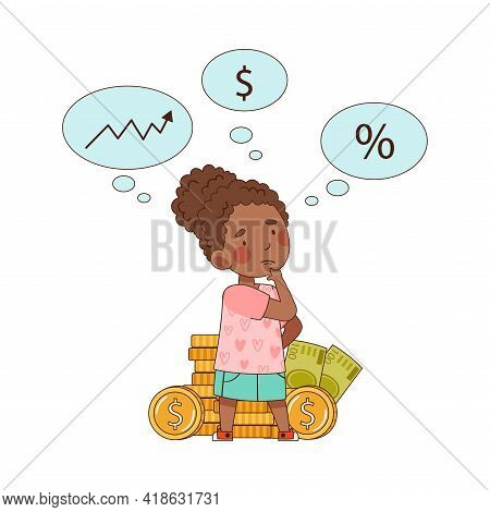 Little African American Girl With Pile Of Money Behind Doing Mental Arithmetic Vector Illustration