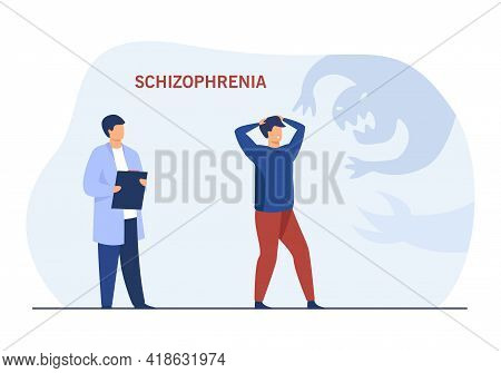 Patient With Schizophrenia In Therapy Session. Cartoon Character With Mental Disease Hallucinating F
