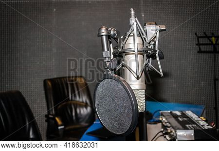 Microphone From The Studio Of The Local Radio In Novi Sad.