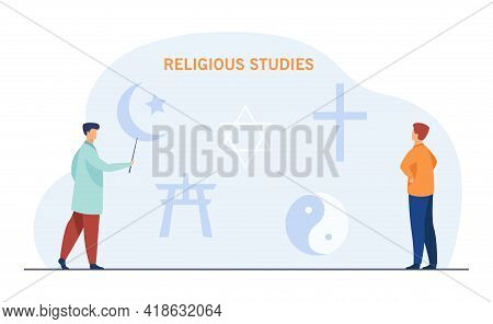 Professor Pointing At Religious Symbols. Cartoon Characters Studying Religion, Lecture On Theology F