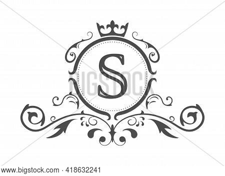 Stylized Letter S Of The Latin Alphabet. Monogram Template With Ornament And Crown For Design Of Ial
