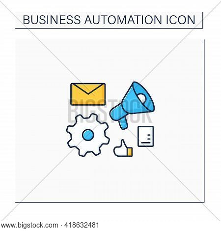 Marketing Automation Color Icon. Help Businesses Scale Relevant. Digital Inviting Potential Customer