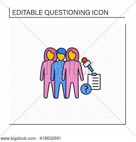 Questioning Line Icon. Diagnosing Identity. Unsure Male And Females, Still Exploring, And Concerned