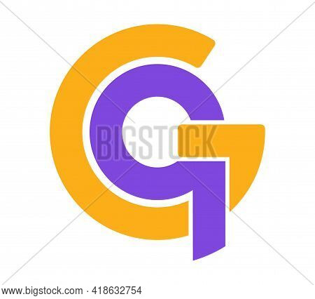 Stylized Lowercase Letters G And Q Are Linked By A Single Line For A Logo, Monogram, Or Monogram. Ve