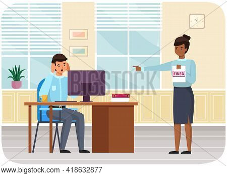 Angry Female Boss Fires Employee And Points At Door Of Office. Business Concept Unemployment, Crisis