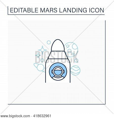 Spaceship Line Icon. Astronaut Inside Spaceship. Ready For Fight. Cosmos Research. Responsible Missi