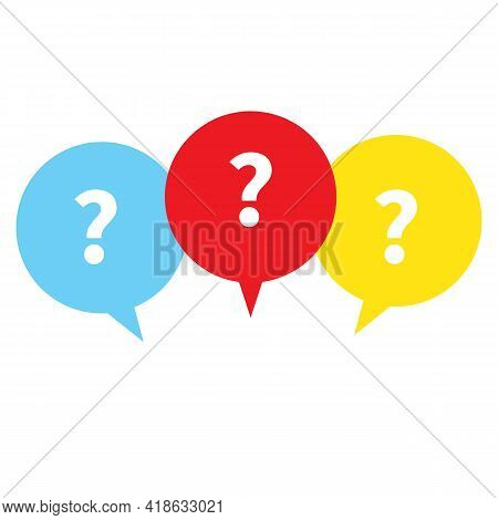 Faq Sign In White Background. Question Mark With Color Speech Bubbles Sign. Message Box With Questio