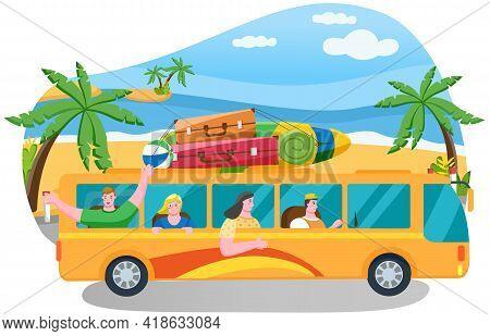 Car Summer Trip Vector Illustration. Happy People On Holidays. Traveler Bus On Background Of Coastli