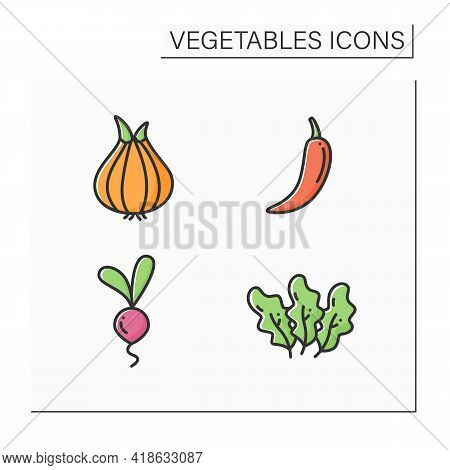 Vegetables Color Icons Set. Edible Plant. Vegetarian, Healthy Nutrition. Onion And Chili Pepper, Bee