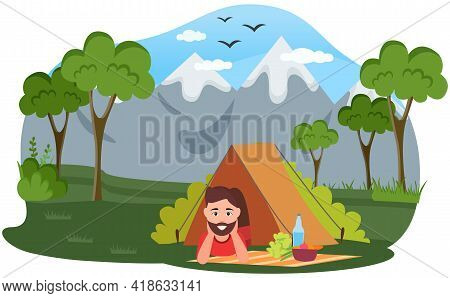 Happy Tourist Or Backpacker Lying In Tent. Camping In Forest, Adventure Tourism, Backpacking, Bushcr
