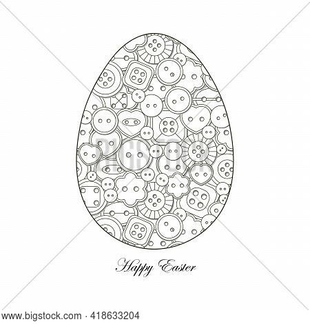 Coloring Book For Adult And Older Children . Easter Egg And Buttons For Sewing. The Concept Of Needl