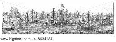The ships of the Duke of York meet the ships of the English navy that bring and escort Catherine of Braganza to London in the English Channel.