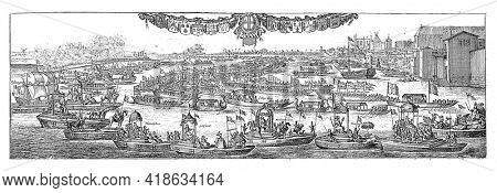 The arrival of Queen Catherine of Braganza in London on the River Thames on 23 August 1662. She is welcomed by the mayor and citizens of London.