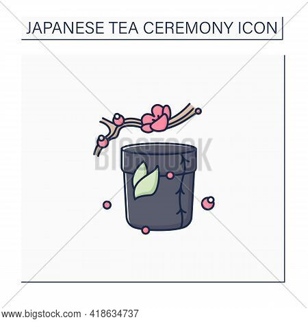 Tea Caddy Color Icon. Special Box For Traditional Herbal Tea.japanese Ethnic And National Ceremony.