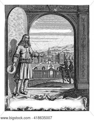 The title page of the first book of 'Den Nederlantsen Hovenier' by Jan van der Groen, the gardener of William III of Orange.
