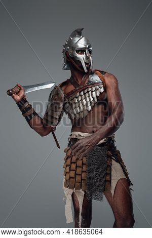 Ancient Arena Fighter Of African Descent With Sword