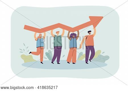 Tiny People Holding Growing Arrow Flat Vector Illustration. Cartoon Professional Characters Working