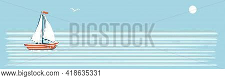 Horizontal Banner. Illustration In A Marine Retro Minimalist Style. A White Sailboat On White Stripe
