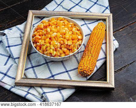 Tasty Ripe Corn Kernels In A Bowl.